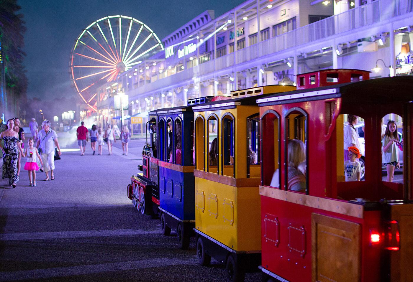 The Wharf Orange Beach SPECTRA Laser Light Experience Palm Tree Show The Wharf Express Train